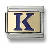 Italian Charm Enamel Letter K 18K Gold Initial 9mm Stainless Steel Bracelet Link