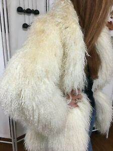 Mongolian Tibetan Shaggy Lamb Coat White S/M