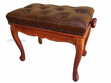 GENUINE LEATHER Antique Style Walnut Adjustable Piano Bench/Stool/Chair