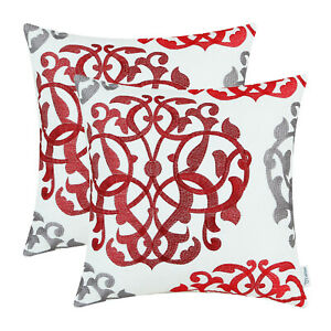 """2Pcs Red Gray Cushion Covers Pillows Shells Geometric Florals Embroidered 20x20"""""""
