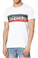 Superdry Core  Crew Neck Stripe Logo T-shirt Cotton Tee Optic White