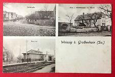 AK WEISSIG bei Großenhain um 1930 Bahnhof, Dorfstrasse und Bäckerei Wendt( 13174