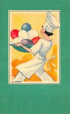 Adina Sand art Easter Postcard Child Chef Carrying Bowl of Colored Eggs~110851