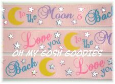 7/8 Love You 2 The Moon & Back Silver Bling Stars Grosgrain Ribbon 4 Bow Pink