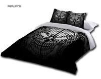 Alchemy Gothic Black BEDDING Double Duvet & UK Pillowcases ABANDON Hope Skull