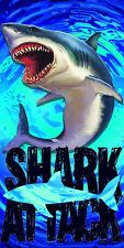 "Shark Attack Beach Towel Ocean Pool Souvenir 30""x60"""
