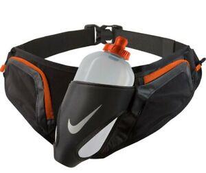 Nike Large Unisex 20oz Flask Hydration Running Belt Adjustable 2 Zip Pockets