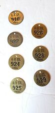 Lot 5 7 Vintage Brass Tool Tags #see pics & details Gardener Denver Quincy Il.