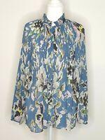Witchery Blue Floral Oversize Flowy Blouse Shirt Size 12