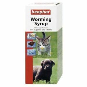 Beaphar Roundworm WORMING SYRUP Choc Puppy Kitten Pet Oral Wormer Treatment 45ml