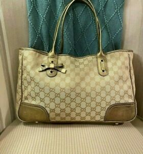 GUCCI PRINCY Light BROWN Beige  GG Fabric &  GOLD  Leather HOBO Tote Bag
