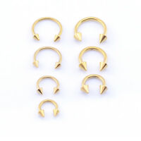 GOLD Horseshoe Bar, Lip Nose Septum Tragus Ear Ring Various Sizes WITH CONES