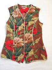 Anne Pinkerton Mujeres Vintage 90s alta calidad Chaleco Chaqueta De Seda Floral Talla 10 AV18