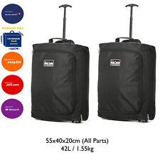 "Lightweight 55cm/21"" Hand Luggage Trolley Bag Cabin Flight Suitcase Ryanair Jet2"