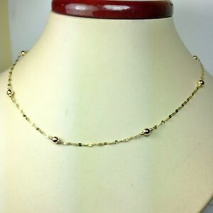 14k solid yellow gold 16'' star link, sparkly, nice station necklace 1.2 grams