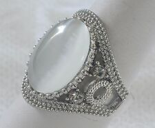 Handmade Vintage 925 Sterling Silver Ring Size 7 with Large 13mm*18mm Cat Eye