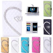 Rhinestone Love Motif Mobile Bag Protective Case Book Cover Pouch Flip Style Case m904