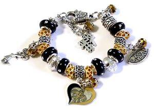 "New Orleans Saints Inspired Handmade Football Charm Bracelet 7"" Adjustable"