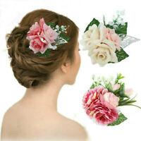 Bridal Wedding Rose Flower Hairpin Clips Women Ladies Banquet Hair Accessories