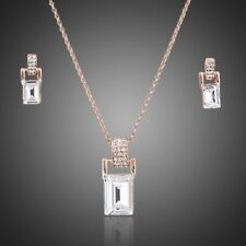 Rose Gold Plated Clear Princess Cut Crystal Pendant Necklace Earring Jewelry Set