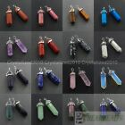 Natural Gemstones Hexagonal Pointed Reiki Chakra Healing Pendant Necklaces Beads