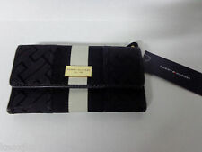 NEW Tommy Hilfiger Black TH Logo Stripe Ladies CHECKBOOK WALLET Clutch Tri-Fold