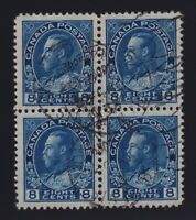 Canada Sc #115 (1925) 8c blue Admiral Block of Four VF Used