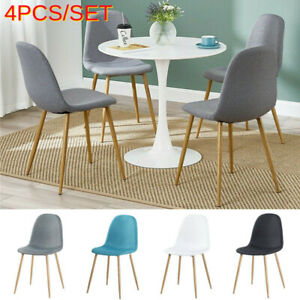 4 Grey White Dining Chairs Set Padded Seat Metal Legs Kitchen Home Office Chair