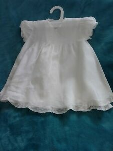 VTG 1950s Infant/Doll Dress & Slip Set, Cotton, Pintucking & Lace, Sz 6-12 Mths