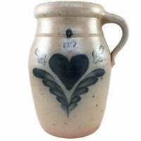 Rowe Pottery Works Crock Jug Heart Salt Glaze Handmade Hand Painted Cambridge WI