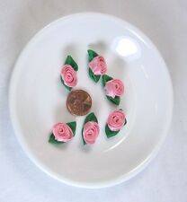 "36 Pc Satin Rolled Ribbon Tea Rose Flower Embellishment 1"" X 1/2"""