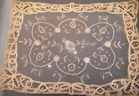 Antique Vtg Doily Princess Lace Brussels Runner Table Scarf Chic Shabby