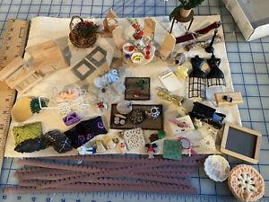 HUGE LOT Vintage Dollhouse Miniatures 1:12,  Dozens New Furniture Food