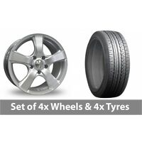 "4 x 16"" Calibre Talig 5 Silver Alloy Wheel Rims and Tyres -  205/65/16"