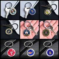 America Government Logo Key Chain Pendants Glass Keychains Gifts Silver Keyring