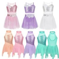 Kids Girls Sequin Ballet Dance Dress Gymnastics Leotard Skate Ballroom Dancewear
