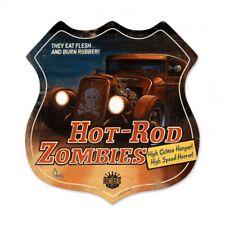 Hot Rod Zombies - Vintage Shield Metal Sign James Owens Garage Man Cave Pulp
