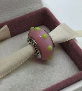 "NEW Pandora Murano Glass Bead ""Seeing Spots"" Pink & Lime Green 790625 retired"