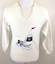 #S15 Vtg Disney Sz L Mickey Mouse Sailboat Boat Nautical Cotton Blend Sweater