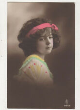 Girl Wearing Pink Headband 1914 RPPC Postcard Children US075