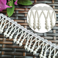 1Yd Pearl Beads Fringe Trim Tassel Lace Ribbon Garment Costumes DIY Accessories