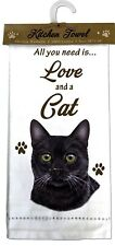 """BLACK CAT Kitchen Towel 18"""" by 26"""" All You Need is...Love & a Cat"""
