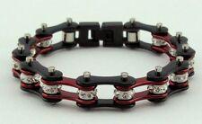 Ladies Stainless Steel W Crystals Motorcycle Bike Chain Bracelet Red-Black