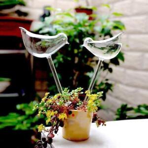 Glass Plant Flowers Water Feeder Self Watering Bird Waterer Device