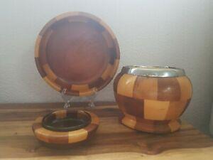 Lancraft Mid Century Patchwork Wood Round Posy Flower Vase & Fruit Bowl &Ashtray