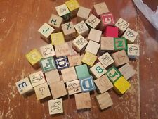 Lot of 45 Wood Blocks Alphabet Building Wooden Stacking Toys