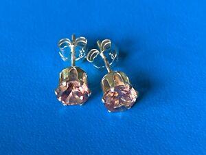 Peach Zircon Earrings Stud Sterling Silver Posts Pierced 5mm NEW Estate