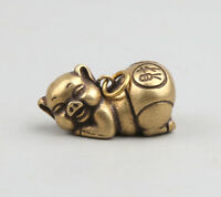 "1.3"" Curio Chinese Bronze 12 Zodiac Animal Likable Pig Wealth Statue Pendant"