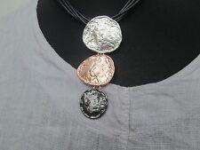 Lagenlook  Large 3 drop  Necklace antique silver gold  grey colour