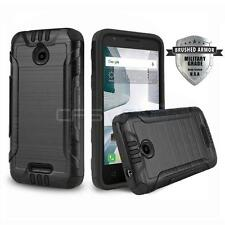 BLACK BRUSHED ARMOR HARD COVER PHONE CASE FOR ALCATEL ONE TOUCH PIXI AVION LTE